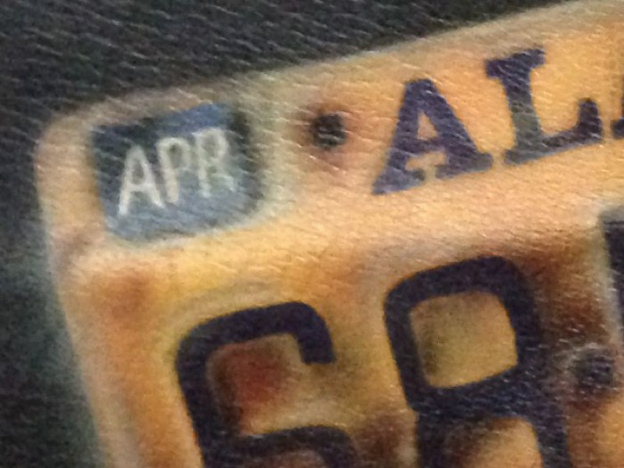 alaska licenese plate airbrush on leather, detail 2